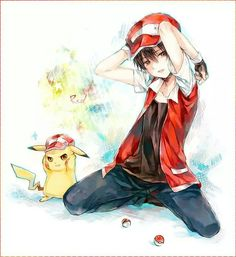 Pokemon Trainer Red and Pikachu
