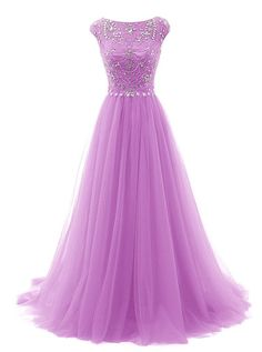 Tideclothes Long Beads Prom Dress Tulle Cap Sleeves Evening Dress Lavender US8