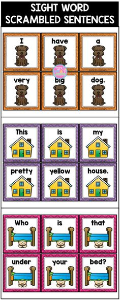 These 14 scrambled sentences contain mostly high frequency words to help students learn to recognize them by sight. The sentence cards come in color AND black and white.