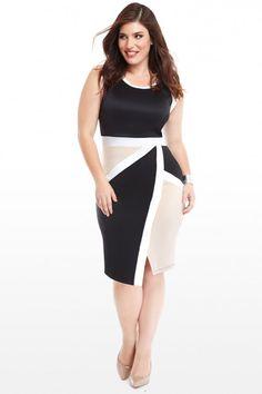 Plus Size Scuba Cololrblock Asymmetrical Hem Bodycon Dress | Fashion To Figure