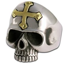 Crucified Skull Ring With golden Cross