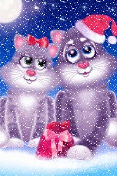 CHRISTMAS KITTIES IN THE SNOW