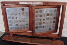 Coin display case as made by the Mens Shed Challenge Coin Display, Challenge Coins, Military Box, Coin Display Case, Sell Coins, Wooden Organizer, Coin Art, Displaying Collections, Coin Collecting