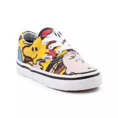 Good grief! Team up with Charlie Brown and the gang for the new Era Peanuts Gang Skate Shoe from Vans! These timeless Era Peanuts Gang Skate Sneakers showcase a collage of character graphics printed on a sturdy canvas upper with padded collar for superior comfort and support.
