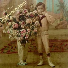 French Antique Postcard  -  Boy with Vase of Flowers (Clearance Item)