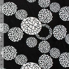 Floral Circles Gray on Black Hacci Sweater Knit Fabric from Girl Charlie