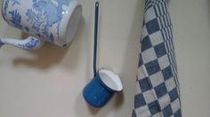Vintage French Bright blue Enamel Milk by ImagedeVintage on Etsy