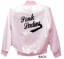 Back view of our Pink Ladies Satin Jacket. Silk Screen Print. Made in the USA