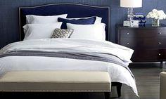 The blue linen wallpaper...