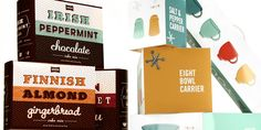 awesome #vintage-style packaging of gingerbread, chocolate, salt and pepper