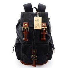 BLUBOON(TM) Large Vintage Canvas Mens Backpacks Rucksacks Hiking Backpack Travel Rucksack Laptop Backpack Fashion Design With Large Capacity Backpack for Outdoor/Hiking/School, etc (Army Green)