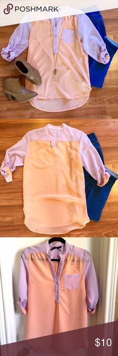 Orange and purple chiffon utility shirt Peach and lavender utility shirt, roll up sleeves, chiffon material. Perfect condition! Great to dress up or down. OPEN TO OFFERS! DISCOUNTS ON BUNDLES! not express listed for viewing purposes. Express Tops Blouses