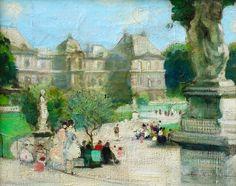 Jules René Hervé - Figures in Jardin Du Luxembourg