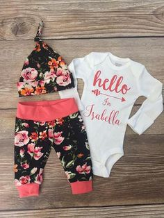 Coral and Black Floral newborn Coming Home Outfit