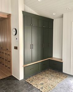 The moment we all started wishing for green cabinets for Christmas. A big fan in more ways than one, Dutch Colonial… Boot Room, House Design, Mudroom, Mudroom Cabinets, Home, Green Cabinets, Home Remodeling, Mudroom Design, House Inspiration