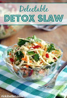 Sugar-free, vegan, candida diet cauliflower-broccoli detox slaw