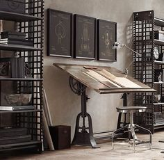 1910 American Trestle Drafting Table from Restoration Hardware – Office Design 2020 Industrial Workspace, Industrial Shop, Vintage Industrial Furniture, Industrial Interiors, Industrial Table, Industrial Apartment, Industrial Lighting, Industrial Bedroom, Industrial Farmhouse