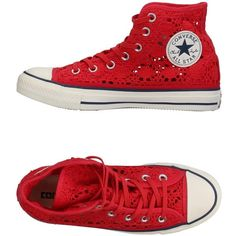 Converse All Star High-tops & Sneakers ($93) ❤ liked on Polyvore featuring shoes, sneakers, red, red flat shoes, red hi top sneakers, red hi top trainers, converse shoes and flat shoes