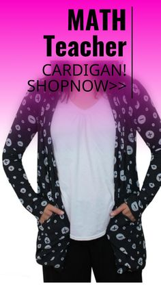 #Cardigan sweater with Math symbols! Perfect for teacher! sponsored
