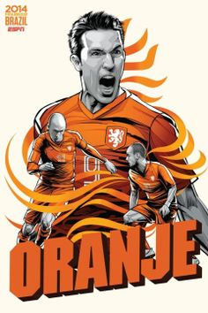 FIFA world cup 2014 Holland- Robben Sneijder van persie 9 - Oranje Soccer Art, Soccer Poster, Brazil World Cup, World Cup 2014, Football Design, Football Art, Fifa Football, World Cup Teams, Sports