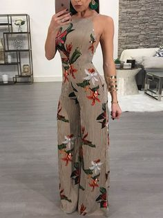 【Chicme Valentine's Day】Fr❤m $7.99! Floral Printed Halter Open Back Wide Leg Jumpsuit