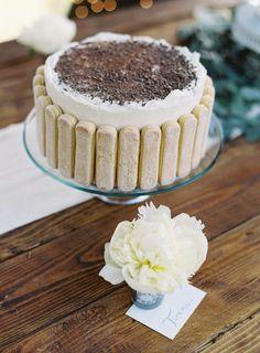 Tiramisu cake: http://www.stylemepretty.com/california-weddings/big-sur/2015/04/21/big-sur-wedding-with-organic-elegance/   Photography: Cooper Carras - http://www.coopercarras.com/