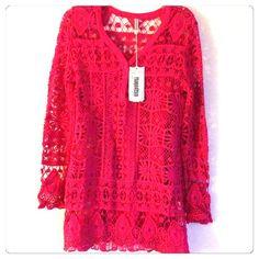 Dipped Henley Crochet Top *Mark down* Beautiful crochet Shell and Tank Top Hot Pink 100% Cotton.  2 in stock. Monoreno Tops Sweatshirts & Hoodies