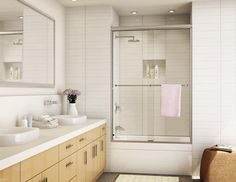 Comely Sliding Glass Shower Doors Desigs For Modern Apartment Bathroom with Maple Vanity Cabinets Bathroom Shower Doors, Frameless Sliding Shower Doors, Bathroom Plans, Glass Shower Doors, Small Bathroom, Bathroom Ideas, Lake Bathroom, Master Bathrooms, Glass Doors