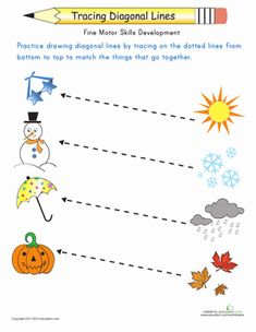 Match the pictures representing the four seasons with the proper objects by tracing the diagonal lines to connect them in order to prepare for writing.
