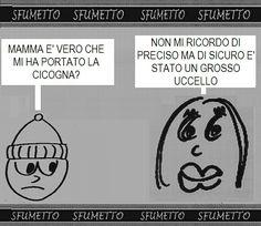 #barzelletta #vignetta #battuta #divertente su #uccelli #cicogna #mamma #bambino
