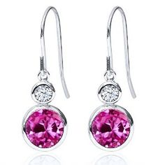 2.22 Ct Round Pink Created Sapphire 925 Sterling Silver Earrings Available at joyfulcrown.com