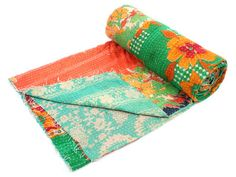 Vintage Kantha Quilt Gudri Reversible Throw Ralli Hand Crafted in India ID 22976 | eBay