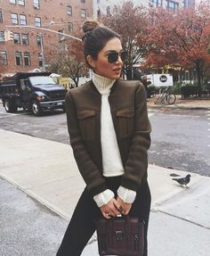 Negin mirsalehi instagram pic, topshop jacket, turtleneck sweater