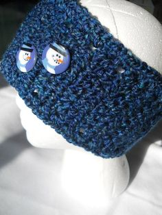 $15.00 Crocheted Headwarmer, Headband, or Earwarmer in Dark Blue with Snowman Buttons