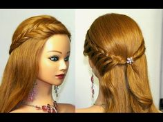 Прическа с плетением на длинные волосы. Braided hairstyle tutorial - YouTube