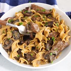 The BEST recipe for Slow Cooker Beef Stroganoff from scratch! Healthy beef stroganoff without canned soup. EASY, creamy crockpot recipe with steak, mushrooms, and Greek yogurt instead of sour cream. Boeuf Stroganoff Rezept, Crock Pot Stroganoff, Healthy Beef Stroganoff, Beef Stroganoff Recipe From Scratch, Slow Cooker Beef Stroganoff Recipe, Slow Cooker Steak, Slow Cooker Pasta, Crock Pot Recipes, Vegetarian Recipes