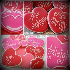 lips and valentine heart cookies