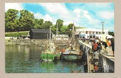 Cornwall animated postcard The Harbour steps quay and shops Padstow PT638