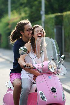 vespa love by saragoetz on DeviantArt Best Scooter, Scooter Bike, Lambretta Scooter, Vespa Scooters, Pink Vespa, Vespa Lx, Vespa Girl, Pink Moped, Vespa Rosa