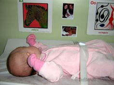 Hang pictures by the change table to make diaper changes more interesting. #parenting #tips #babies #toddlers