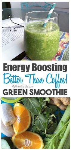 Do you want to raise your energy without caffeine? This energy boosting green smoothie, full of nutritious vegetables, will invigorate you any time of the day minus the negative effects of caffeine. This clean vegan, dairy-free smoothie is also great for Smoothie Vert, Green Detox Smoothie, Healthy Green Smoothies, Good Smoothies, Juice Smoothie, Detox Smoothies, Smoothie Cleanse, Breakfast Smoothies, Detox Drinks