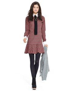 Tartan Long-Sleeved Shirtdress - Polo Ralph Lauren Short Dresses - RalphLauren.com