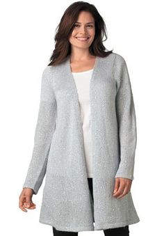 Plus Size Sweater jacket, cardigan style, open front with allover sequins