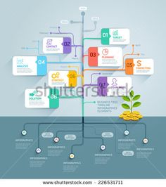 Business tree timeline infographics. Vector illustration. Can be used for workflow layout, banner, diagram, web design template. - stock vector