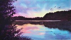 Lemon Watercolor, Watercolor Sunset, Watercolor Landscape Paintings, Watercolor Trees, Watercolor Background, Abstract Watercolor, Watercolor Illustration, Simple Watercolor, Tattoo Watercolor