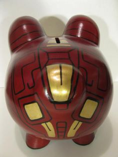 Robot Piggy Bank Inspired by Ironman Unofficial por PigPatrol Pig Bank, Personalized Piggy Bank, Crafts For Kids, Diy Crafts, Money Box, Pretty Art, Iron Man, Pop Art, Projects To Try