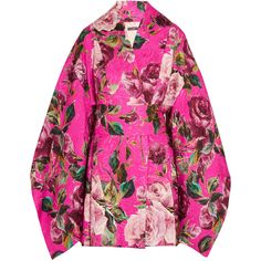Dolce & Gabbana Floral-brocade kimono mini dress ($3,395) ❤ liked on Polyvore featuring dresses, pink, long-sleeve mini dress, pink mini dress, kimono dress, floral mini dress and pink dress