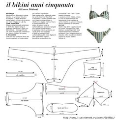il bikini anni cinquanta ~ there are a heap of FREE swimsuit and bikini patterns on this site with measurements.... you will need to be able to draught the pattern starting from your straight line and 0 point!!