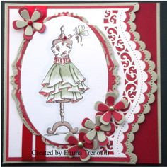 Fabulous fashion stamp, spellbinders & sizzix dies, image coloured with tim holtz distress markers x