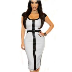 USD12.49Cheap Sexy O Neck Short Sleeves Patchwork White Polyester Sheath Knee Length Bodycon Dress